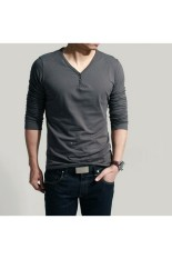 Casual Style Men's Fashion Slim Long Sleeve T Shirt Dark (Grey)