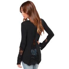 Casual Women Blouse Stitching Lace Mesh Splicing T-Shirt Long Sleeve Shirt Slim Leisure Top Black