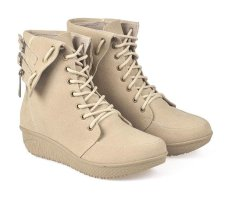 CBR Six Sepatu Boots Casual Fashion Wanita - Synthetic - Cream