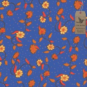 Cek Batik - Kain Batik Motif Manis Bunga dan Daun (Biru)