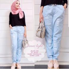 Celana Jogger Pants Jeans Denim Wanita Sobek Tidak Tembus Biru Muda
