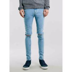 Celana Murah Jeans Ripped Sobek Light Blue