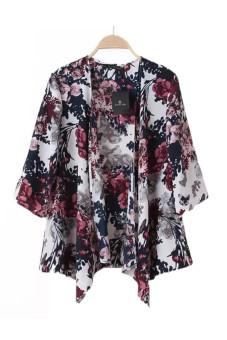 Cetak Jaket Kain Sutera Tipis Kimono Cardigan Warnawarni