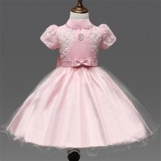 Cewek lengan pendek gaun musim panas gadis bunga gaun pesta anak Princess Dress Tutu pernikahan L16110 (berwarna merah muda) - International