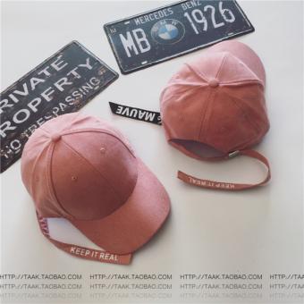 Chaonan Korea Fashion Style musim panas perempuan panjang surat topi baseball topi (Tali mauve merah