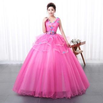Harga Chica Outlet Gaun Pengantin Floral Pink Tanpa Lengan