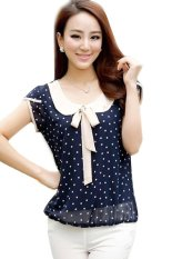 Chiffon Sleeveless Polka Dot Blouse Top (Navy Blue)