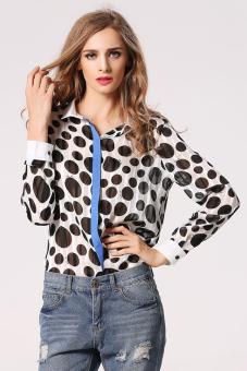 Chiffon Women Lapel T Shirt (Multicolor) (Intl) - Intl
