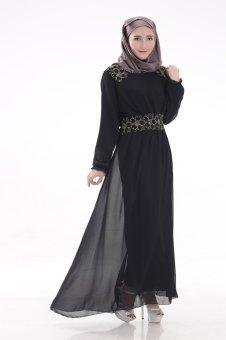 Chloe s Clozette Baju Muslim Dress Gamis Kaftan Lengan Panjang kode MD 18  Hitam 43282556e1