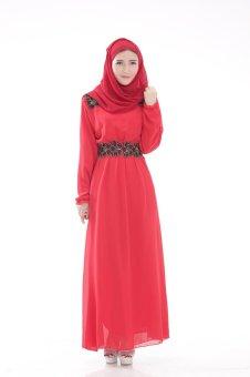 Chloe s Clozette Baju Muslim Dress Gamis Kaftan Lengan Panjang kode MD 19  Merah 8b3b037159