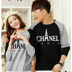 Chnell hitam putih sweater couple combad jaket sepasang