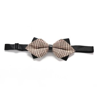 Classic Fashion Novelty Mens Adjustable Tuxedo Bowtie Wedding Bow Tie Necktie P48-Khaki Plaid - Intl - Intl