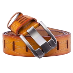 Classic Hollowed-Out Alloy Pin Buckle PU Leather Belt For Men