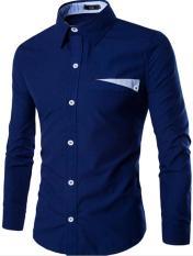 Classic Men's Long Sleeved T-shirt V-collar Slim T-shirt Royalblue (Intl)