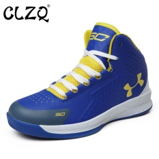CLZQ 2017 New High To Help Basketball Shoes Men Outdoor Stadium Breathable Light Sports Shoes Blue - intl