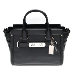 Coach Swagger 32 in Pebble Leather (Black -Silver Hardware)