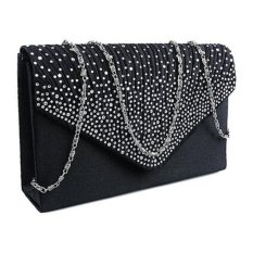 Coconiey Ladies Large Evening Satin Diamante Ladies Clutch Bag Party Envelope Black(Int: One size) -int