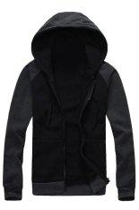 Cocotina Casual Man Boy Slim Pullover Hoodie Jacket Hooded Sweatshirt Coat Zipper Outwear (Black & Dark Grey)