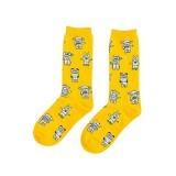 Cocotina Comfort Women Girl Fashion Cartoon Robot Print High Socks Casual Sport Hosiery – Yellow