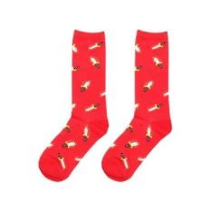 Cocotina Comfort Women Girl Fashion Cartoon Sword High Socks Casual Sport Hosiery – Red