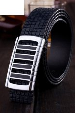 Cocotina Fashion Men Luxury Faux Leather Smooth Alloy Buckle Casual Waistband Strap Belt – Black