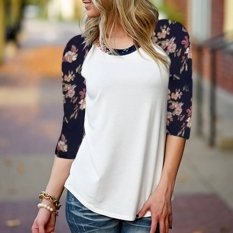Cocotina Fashion Woman 3/4 Sleeve T Shirt Casual Blouse Floral Print Tops Baisc Tee (Intl)