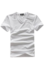 Cocotina Men's Casual Top Solid Color Slim Fit V Neck T-shirt (White)