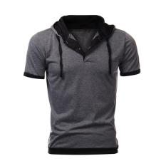 Cocotina Men's Slim Hooded Tops Short Sleeve Sweatshirt Gym Casual Hoodie Tee T-shirt (Grey & Black)