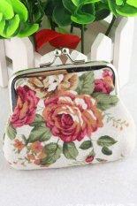 Cocotina Portable Vintage Flower Wallet Coin Storage Bag Case Plush Purse Handbag (White)