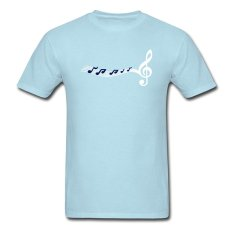 CONLEGO Customize Men's Notes Clef Music T-Shirts Sky Blue