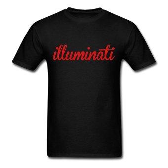 CONLEGO Funny Cotton Men's Illuminati Crewneck T-Shirts Black