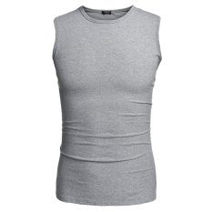 COOFANDY Men Fashion Casual Cotton Round Neck Sleeveless Solid Tank Tops (Grey)