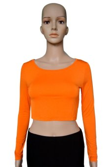 COSIVIA Cotton Muslim long sleeve half-length T shirt  orange