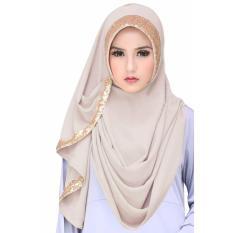 Cotton Bee Jilbab Instan 2 Faces Tazkia Sequins - Nude