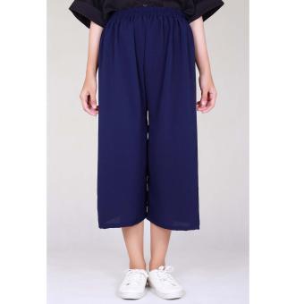 Cotton Bee Pallazo Midi Cullote Pants - Navy Blue