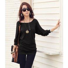 Cotton Blend Women Long Sleeve T Shirt (Black)