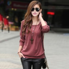 Cotton Blend Women Long Sleeve T Shirt (Red)