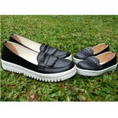 Coupleshoes Mom and kids Loafer Hitam Fashion Sepatu wanita dan sepatu anak