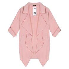 Cyber ACEVOG Women Fashion Casual Loose Lapel Batwing Long Sleeve Irregular Hem Pocket Solid Trench Coat (Pink) - Intl