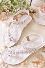 Cyber Bohemia Women Floral Flat Heels Gladiator Sandals Flip Flops Thong Slipper (White)