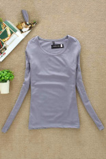 Cyber Casual Fall Women Round Collar Long Sleeve Pullovers T-shirt Tops (Grey)