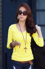 Cyber Casual Fall Women Round Collar Long Sleeve Pullovers T-shirt Tops (Yellow)