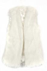 Cyber Chic Lady Faux Fur Vest Winter Warm Coat Outwear Long Hair Jacket Waistcoat (White)