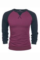 Cyber COOFANDY Men's Casual Long Sleeve Pullover Tops Splicing Color Loose Leisure Sports Hoodie (Purple)