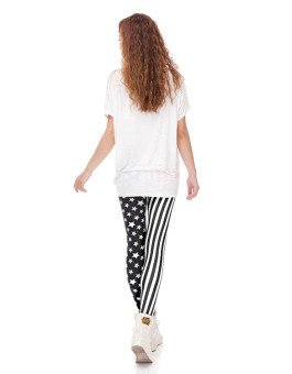 Cyber Europe Women Elastic Stripe Splicing Star Leggings Stretch Skinny Leggings Tights Pencil Pants - intl