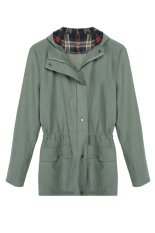 Cyber Fashion Cool Women Casual Plaid Patchwork Hooded Jacket Wind Coat (Green)