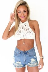 Cyber Fashion Women Ladies Sexy Halter Knit Crochet Hollow Out Lace Up Backless Casual Beach Crop Tops (White)