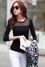 Cyber Fashion Women's Slim Mesh Tops Long Sleeve Tee Shirt Casual T-Shirt (Black)