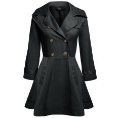 Cyber FINEJO Women Casual Turndown Collar Long Sleeve Double-breasted Trench Windbreaker Outwear Jacket (Black) (Intl)