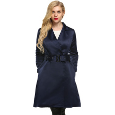 Cyber Finejo Women Elegant Notched Collar Long Swing Trench Coat with Belt (Navy Blue) (Intl)